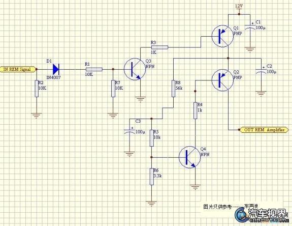汽车功放控制或延时器的电路原理
